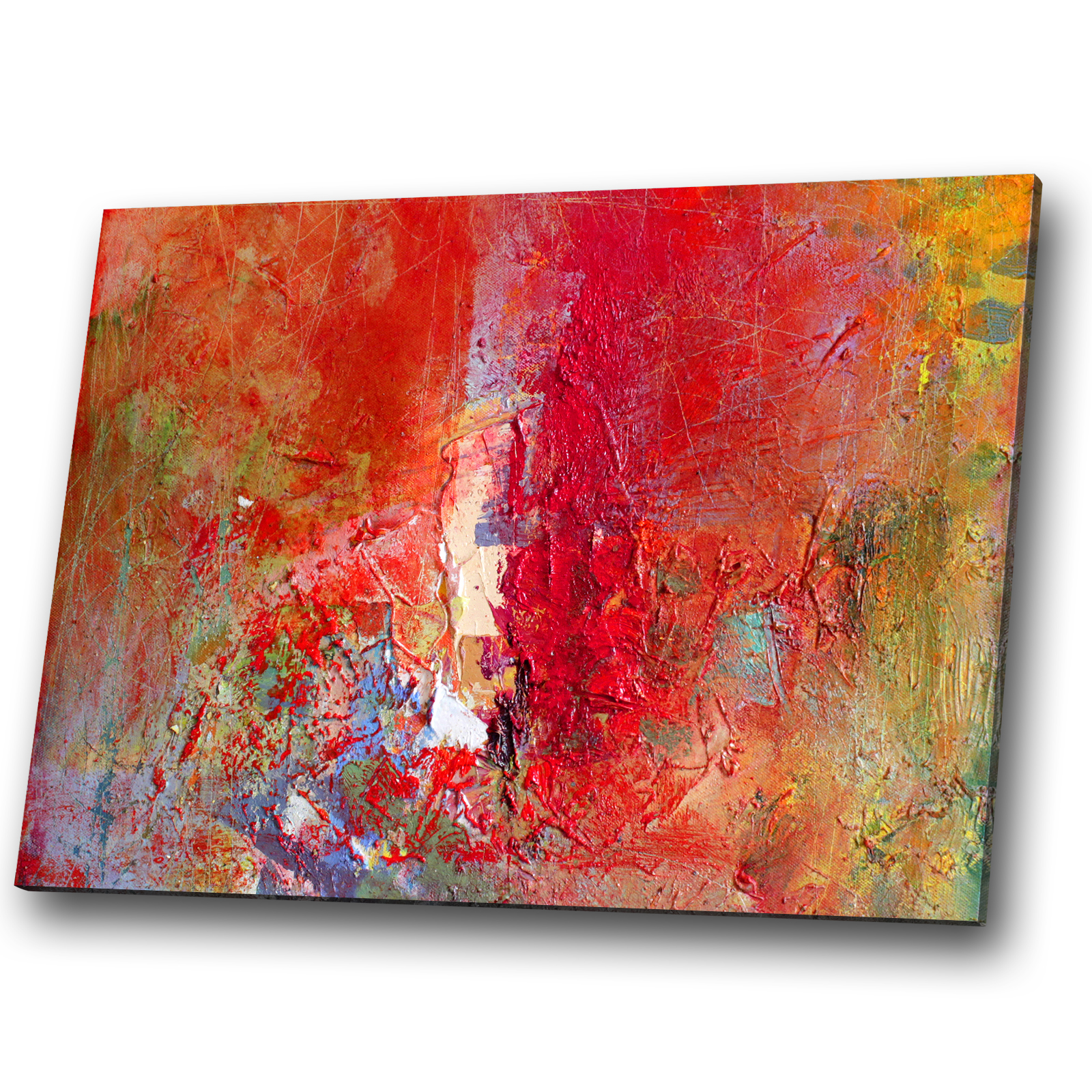 Red Blue Yellow Retro Portrait Abstract Canvas Wall Art Large Picture Prints